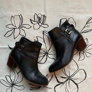 Sam Edelman Marlene Black Leather Heeled Booties